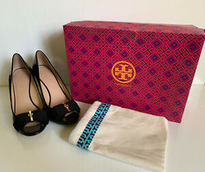 TORY BURCH TRUDY 85MM OPEN TOE BLACK SOFT PATENT CALF WEDGES SHOES SANDALS 7 37