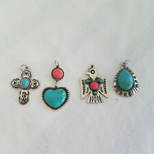 4 Fashion Native American Style Charms/Pendants Silver Tone Faux Turquoise/Coral