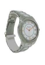 Bulova 98P135 Women's White Round Boyfriend Style Diamond Ceramic Analog Watch