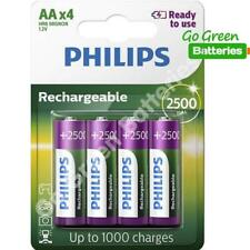 4 x Philips AA 2500 mAh Rechargeable Batteries Pre Charged NiMH LR6, HR6