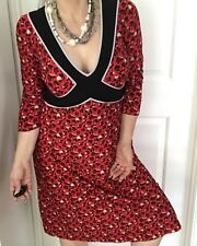 LEONA WOMENS DRESS FLORAL RED WHITE BLACK SPANDEX A LINE MIDI SZ 3