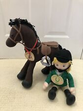 HearthSong Lucky Horseshoe CORDUROY PONY Poseable Horse and rider 2006