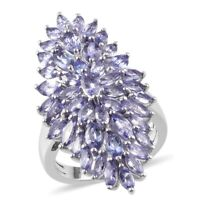 925 Sterling Silver Platinum Over Blue Tanzanite Cluster Ring Size 6 Ct 4.25