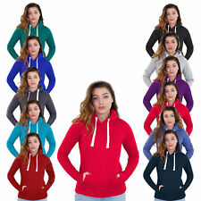 New Ladies Plain Pull Over Womens Hoody Fleece Casual Gym Adult Top Sweatshirt
