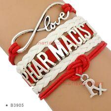 Pharmacist Rx Infinity Charm Bracelet Drug  Pharmacy Medical QUALITY USA