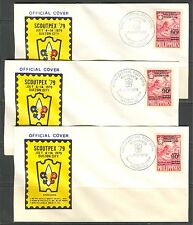 PHILIPPINES 1979, SCOUT PHILATELIC EXHIBITION, Sc C111 LOT OF 3 FDC's