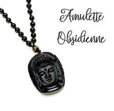 AMULETTE Obsidienne Noire Guanyin Zen Tête Bouddha Pendentif Perles