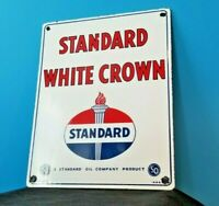 "VINTAGE STANDARD WHITE CROWN GASOLINE 15"" PORCELAIN GAS & MOTOR OIL SIGN"