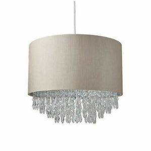 Light Shade Beaded Drum Droplet Chandelier shiny Ceiling Pendant Mink (Waverly)