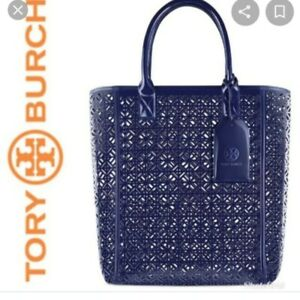 TORY BURCH Laser Cut-Out Tote Bag Navy Blue Patent PVC w/ Luggage Tag