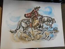 Outstanding Unframed Argentina GAUCHO Art by Elena Castellanos 1962....SALE