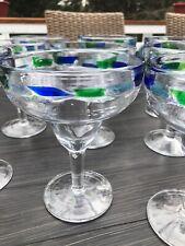 Mexican Glassware Blue Margarita 10 Glasses Set Hand Blown Euc Drinkware
