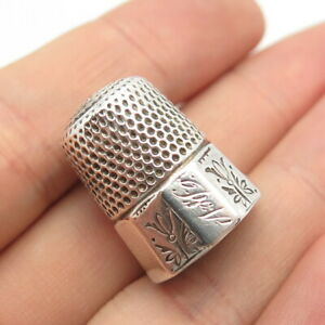 Antique Art Deco 925 Sterling Silver Engraved Floral Handcrafted Thimble Size 9
