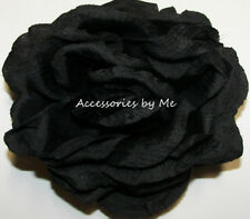 Black Rose Hair Clip Silk Solid Flower Girl Women Floral Wedding Party Halloween