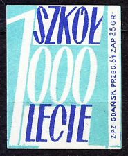 POLAND 1959 Matchbox Label - Cat.Z#136a-rr. 1000 Schools for 1000 years (Polish)
