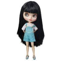 Blythe Nude Doll from Factory Black Straight Hair Make-up Eyebrow Sleeping Eyes