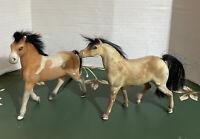 Vintage 2 Mid Century Flocked Velvet Plastic Model Horses Real Hair