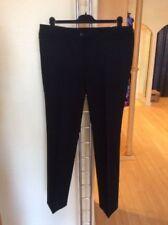 Straight Leg Black Polyester Trousers for Women
