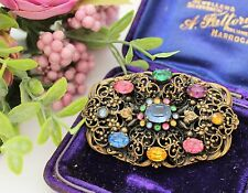 LARGE ART DECO CZECH FILIGREE BROOCH SET WITH FACETED PASTE STONES - GORGEOUS !