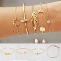 New 5PCS Women Bracelet Set Moon Leaf Gift Crystal Open Bracelets Jewelry Gift