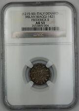 1215-50 Italy Denaro Silver Coin Milan Biaggi-1421 Frederick II NGC AU-53 AKR