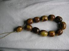 Rare Original Ottoman Brown Caramel And Yellow Milk Amber Bakelite Worry Beads !