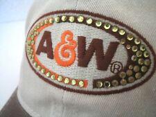 NEW Women's adjustable A&W Root beer Cap Casual Hat Cotton rhinestones