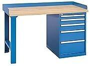 "LISTA XSWB40-60BT - 60"" x 30"" Industrial Workbench,2 Cabinets,5 Drawers,Wood Top"