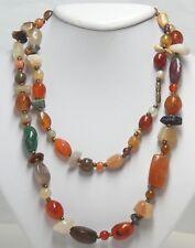"Multi Gemstone Bead Necklace 35.25"" 121.8g   Brown Green Orange"