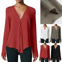 Fashion Women Summer Casual Long Sleeve V-neck Loose Chiffon T-shirt Tops Blouse