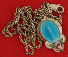 Vintage Sterling Enamel MARY MIRACULOUS MEDAL WITH CHAIN Medal Pendant Necklace