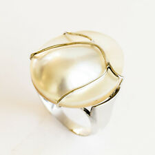 MABE PEARL RING 2.5cm AUSTRALIAN MABE HANDMADE STERLING SILVER RING SIZE R NEW