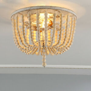 Country Wooden Beads Round Cage Distressed Ceiling Lights Flush Mount Balcony