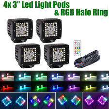 4X 3inch CREE LED Work Light Pods & RGB Halo Chasing Multi-Colors & Wiring Kits