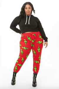 Dr Seuss The GRINCH X Forever 21 red sweatpants womens Joggers size 1X PLUS