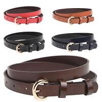 Ladies 20mm Slim Premium Grade Leather Belt Sizes 10 12 14 16 18 Red Black Tan
