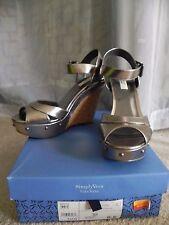 Simply Vera by Vera Wang Nala Pewter Metallic Stud Cork Heel Wedge Sandals 8.5