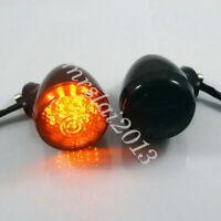 2x Motorcycle Black Rear Turn Signal LED Amber Light Indicator For Harley Bobber