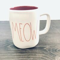 Rae Dunn MEOW Red White Mug Coffee Tea Cat Cat Lover Artisan Collection