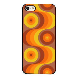 Wavy Orange Retro Pattern plastic phone case fits iPhone