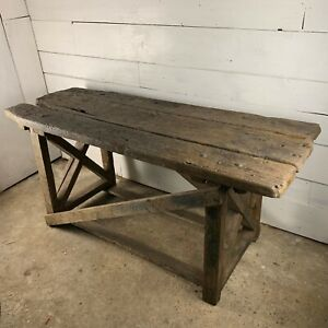 Vintage Heavy Duty Industrial Oak Topped Workbench Table on Pine Base