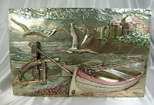 ANTIQUE LARGE ITALIAN CASTLE BOAT BIRDS SCENE STERLING SILVER PLATED PLAQUE