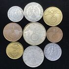 9 Coin Lot Rare Third Reich Germany WW2 Coins 2 Reichsmark and Various Pfennig