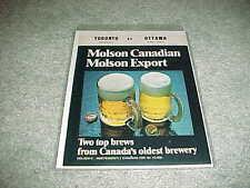 1972 Ottawa Rough Riders v Toronto Argonauts CFL Football Program Molson Cover