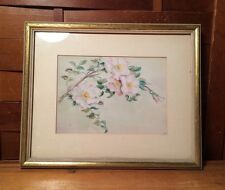 "Vintage Framed Matted Floral Flower Art Wall Home Decor Bathroom 11""x9"""