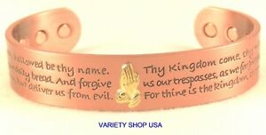 Lord's Payer Pure Copper Wide Religious Magnetic Therapy Cuff Bracelet CMLORDS