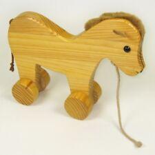 Nachziehtier PONY 26cm aus Holz Nachziehspielzeug für Kleinkinder von Bauer