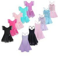 Girls Gymnastics Ballet Tutu Dress Kids Dance Chiffon Leotard Unitard Dancewear