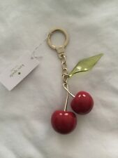 Kate Spade Key Chain Fob Cherries Gold Trim