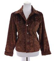 Chicos Design Womens Faux Fur Silky Shaggy Blazer Jacket Silk Brown Sz 1 Medium